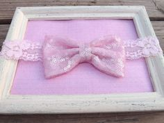 Pink Sequin Fabric Bow Lace Headband by FabricBowDepot on Etsy