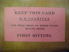 icollect247.com Online Vintage Antiques and Collectables - Puzzling Russian Steamship Mess Sitting Card, 1916+