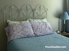 Hanging the Garden Trellis Headboard - Plum Doodles