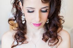 glam make up pink lip bride, image by http://hayleysavagephotography.co.uk/