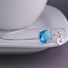 Blue Topaz Sterling Silver Bangle Bracelet Personalized Gemstone by georgiedesigns