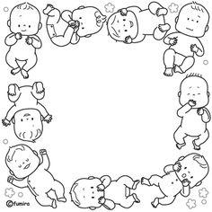 ちいさな赤ちゃんのイラストフレーム(モノクロ)   子供と動物のイラスト屋さん わたなべふみ
