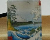Japanese Woodblock Glass Tile Pendant