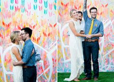 Colourful painted backdrop. Free-Spirited Graffiti Artist Wedding: Kristen + Dusty