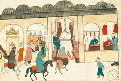 The covered bazaar in Istanbul, miniature from Turkish Memories, Arabic manuscript, Cicogna Codex, Turkey 17th Century.