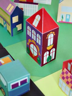 Printable Spring House - Paper Toy DIY for Kids - Print and build or construct an entire Neighborhood with 30+ houses, cars, and people! @Mari - Small for Big