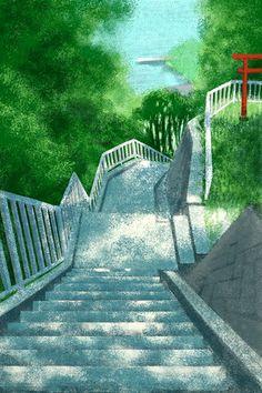 横須賀・三浦半島の風景 鴨居港へ続く階段