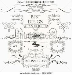 Set of vintage decorations element flourishes calligraphic swirls borders and frames retro