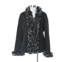 b074e41915f Anne Fontaine Ezaline Black Wool Blend Jacket with Ruffled Collar and Cuffs