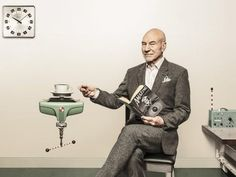 Patrick Stewart drinking tea photo shoot #celebrities #tea