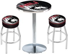 Northern Illinois Huskies D2 Chrome Pub Table Set. Available in two table widths.   Visit SportsFansPlus.com for Details.