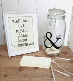 Wedding message in a bottle kits ,a lovely addition to a guest book table.  There are 75 cards for guests to write their wishes or marriage tips on for the happy couple,to be opened on the couples first wedding anniversary.  The cards will have either twine or ribbon(add colour preference if ribbon) so the scroll can be rolled up and put in the jar.  The jar itself can be personalised with the couples married name underneath the ampersand,just add details in the notes when purchasing.  Kit…