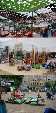 Meble miejskie z banerów reklamowych na Malta Festival Poznań / Street furniture made of advertising banners at the Malta Festival Poznań