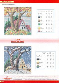Kanaviçe mevsim mini tablo
