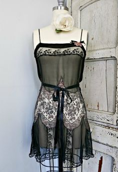 Vintage lingerie black silk chiffon teddy black and Pretty Lingerie, Vintage Lingerie, Bridal Lingerie, Luxury Lingerie, Classic Outfits, Cool Outfits, Classic Clothes, 1920s Outfits, Period Outfit