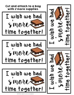 Gift tag labels to let you kiddos just how much you will miss them. Print, cut, and attach these to a bag with graham crackers, chocolates, and marshmallows to send them off to a summer of fun. Student Gifts End Of Year, Student Teacher Gifts, End Of School Year, Student Teaching, Summer School, School Fun, School Days, End Of Year Activities, Preschool Gifts