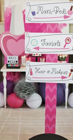 Cute Sign for a DIY spa themed sweet Find the best Spa Party Decorations! Do you need decorations ideas for your Spa party? Here are some cool Spa party decoration ideas. Girls Pamper Party, Spa Day Party, Kids Spa Party, Sleepover Birthday Parties, Barbie Birthday Party, Birthday Party Themes, 10th Birthday, Party Party, Paris Birthday
