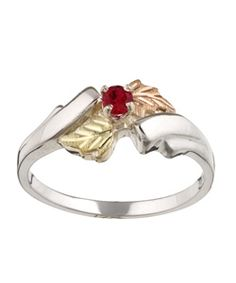Black Hills Gold on Silver Created Ruby Ring