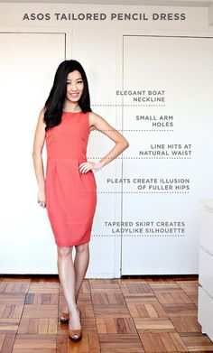 What a dress should fit like, although you can easily dress this up and make it more dressy...perhaps a belt, small earrings and lifting the hair should also create the illusion of extra height.