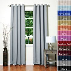 """Grey Solid Grommet Top Thermal Insulated Blackout Curtains 104""""W X 72""""L Pair - GT Best Home Fashion,http://www.amazon.com/dp/B00CWCZ2E8/ref=cm_sw_r_pi_dp_xE0ysb1RNEBAT522"""