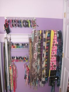 Storage ideas for teen girl's room - sunglasses, scarve, belts and nail polish