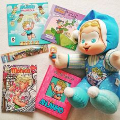 Minha coleção de coisas do Anjinho da Turma da Mônica.  #anjo #anjinho #turmadamonica #mauriciodesousa #angel #books #monicasgang #brinquedos #anjos #angels #livros