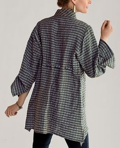 Puckered Linen shirt, plum or teal - back