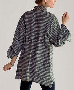 Puckered Linen shirt, plum or teal - back