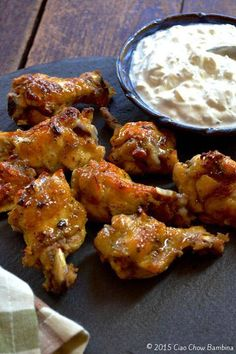 Crispy Baked Greek Chicken Wings with Feta Dipping Sauce