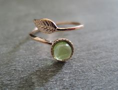 Engagement Rings – Rose gold Leaf ring Peridot stone From Brazil – a unique product by MadamebutterflyMeagan on DaWanda
