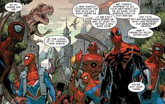 The Spiders find themselves in a prehistoric world in Amazing Spider-Man #12 (vol. 3)