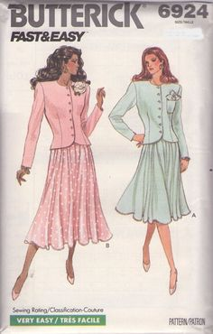 MOMSPatterns Vintage Sewing Patterns - Butterick 6924 Vintage 80's Sewing Pattern PRETTY Fast & Easy Mother of the Bride Fancy 2 Piece Suit Dress, Jacket Top, Billowing Skirt Size 6-12