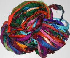 Recycled Sari Silk Ribbon Yarn multi 10 color 65 by JuliaLCraft, $9.99