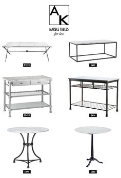 marble tables for less