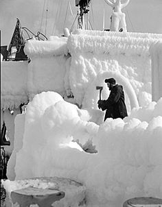 HMCS Brantford covered with ice, February 1944 (courtesy Canada Dept of National Defence, Library and Archives Canada/PA-136146).