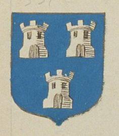 Julien FRESNEAU, chanoine de Blaison. Porte : d'azur, à trois tours d'argent | N° 351 > Saumur