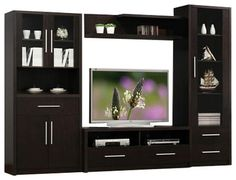 $685 4-Piece Espresso Finish Wood Modern Styling TV Entertainment Center Wall Unit - contemporary - Entertainment Centers And Tv Stands - AMB FURNITURE & DESIGN