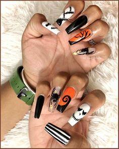 Halloween Nail Colors, Holloween Nails, Halloween Acrylic Nails, Cute Halloween Nails, Fall Acrylic Nails, Halloween Nail Designs, Acrylic Nail Designs, Diy Halloween, Women Halloween