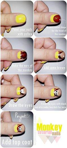 Monkey nails tutorial - Ellie would love this! Animal Nail Designs, Animal Nail Art, Love Nails, How To Do Nails, Pretty Nails, Monkey Nails, Nails Rose, Nails Decoradas, Nails After Acrylics