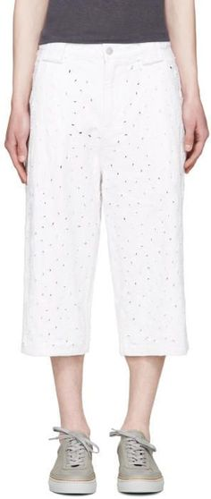 Telfar White Distressed Denim Shorts
