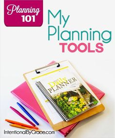 A list of Planning Tools for getting organized. There are links to a lot of information on planning and getting organized in this post. So helpful!