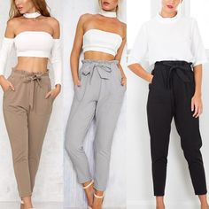 $15.07 - Nice Casual Women High Waist Pants Bow Tie Drawstring Sweet Pockets Trousers - Buy it Now!