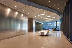 LEVELe Wall System with Float panels and custom panels in Stainless Steel with Linen finish at The Center for Care and Discovery, University of Chicago Medicine, Chicago, Illinois