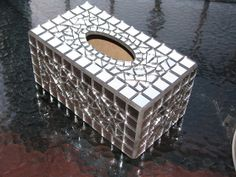 Mirrored tissue box cover      #mosaic #box