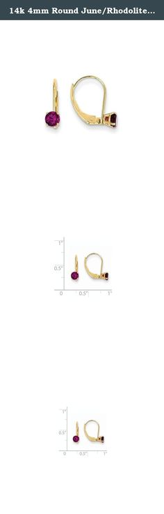 14k 4mm Round June/Rhodolite Leverback Earrings, Gem Ctw.0.7. Attributes Polished 14k Yellow gold Leverback Genuine Rhodolite garnet Product Description Material: Primary - Purity:14K Stone Type 1:Rhodolite Garnet Stone Color 1:Red Stone Quantity 1:2 Length of Item:14 mm Stone Weight 1:0.350 ct Charm/Element Length:14 mm Charm/Element Width:4 mm Material: Primary:Gold Stone Shape 1:Round Stone Size 1:4.00 mm Stone Treatment 1:Not Enhanced Width of Item:4.5 mm Product Type:Jewelry Jewelry...