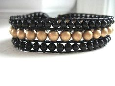 Gemstone Beaded Cuff Bracelet  Black and Gold by JulieEllynDesigns, $48.00