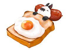 Egg on toast w/ sausage ~ rabbit