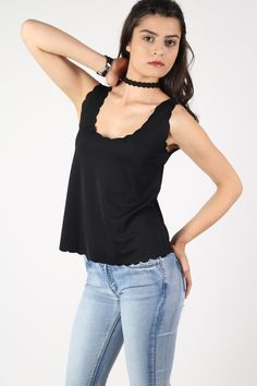 Christina Scallop Edge Sleeveless Top in Black