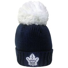 Toronto Maple Leafs Reebok Ladies Oversized Cuffed Pom Toque - shop.realsports #TorontoMapleLeafs #Pom #Reebok #Oversized #Headwear #Ladies #Beanie