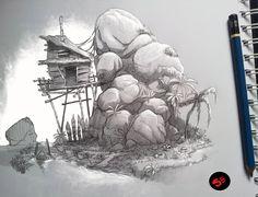 house by rock, segun samson on ArtStation at https://www.artstation.com/artwork/NG5e1